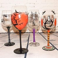 Wholesale Pumpkin Painting - New Creative Halloween Day personalized gifts hand-painted pumpkin spider web tree colorful red wine glass cup hanap goblet mug