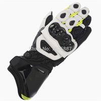 длинные черные мотоциклетные перчатки оптовых-GP PRO Moto GP Черные желтые флюо-кожаные длинные перчатки Гоночная команда Race Motorcycle Street Gloves