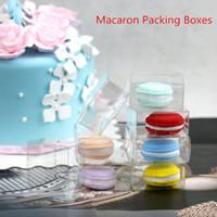 cajas de plástico macaron al por mayor-Blister Packaging Snack roll cake box Macaron cajas de embalaje Macaron caja de plástico al por mayor cajas transparentes 50 unids