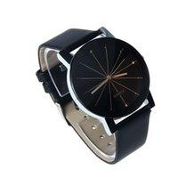 modische liebhaber uhren großhandel-Modische und einfache Spot Meridian Ray Black Dial Lovers Watch Männliche und weibliche Gürtel Watch Weiß und Schwarz