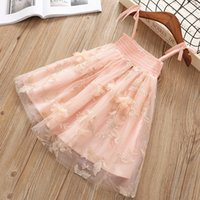 Wholesale girl clothes designs - NEW arrival Girl Clothes girl Dresses Kids Boutique Clothes Flower Embroidery Design Suspender Girls Short Sleeve Dresses 2 color
