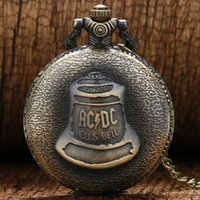 Wholesale Antique Watches - Antique Steampunk ACDC Hells Bell Quartz Pocket Watch Necklace Pendant Retro Men WomenUnique Relogio Gift