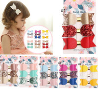 Wholesale bright babies - 6 groups baby Hair Accessories Bright powder bow PU leather barrettes cute kids girl fashion bow barrettes free ship 3pcs  groups