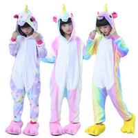 çocuklar kigurumi toptan satış-Çocuklar Unicorn Pijama Kigurumi Onesie, Çocuk Hayvan Yıldız Unicorn Pijama Parti Kostümleri Anime Hoodie Pijama Kız Erkek Için
