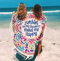 esteras delgadas de yoga al por mayor-Playa de verano Estera redonda Tapicería bohemia Estera Hippie Picnic Cubierta delgada Tiro de yoga Estera de poliéster de gasa