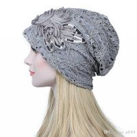 Wholesale butterfly knitted hat for sale - Group buy Turban Hats For Women Lace Knitted Slouchy Skullies Caps Fashion Flower Winter Stylish Butterfly Beanies New Arrival jy aa