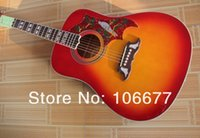 Wholesale guitar top wood - Nature Wood Hummingbird HS Cherry Red Sunburst Solid Spruce Top with Fishman Pickup Acoustic Electric Guitar Free Shipping