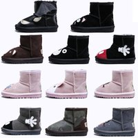 ayı ayakkabıları toptan satış-WGG Çizmeler Karikatür Hayvan Ayakkabı Kız Erkek Ayakkabı Için Klasik Kar Botları Koyun yün Tavşan ayı kedi sıcak tutmak