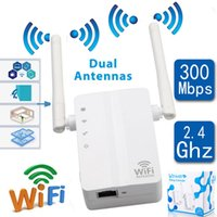 Wholesale wifi wireless transmitter - Wireless Wifi Router Repeater Booster Amplifier Transmitter Signal Range Extender 300Mbps WiFi repeater WiFi radio signal amplifier Network