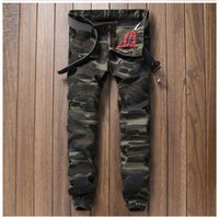 Wholesale Camouflage Pants For Men Skinny - Fashion Men jeans Luxury Brand Denim Trousers Army Green Jeans Camouflage Pencil Pants Slim Jeans for Men Size 28-38