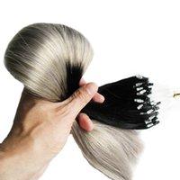 наращивание человеческих волос micro loops ombre оптовых-1B / серый Ombre бразильские человеческие волосы прямые 8a Micro Loop Ombre серебристо-серый 100 г девственные бразильские волосы человека микро-наращивание волос из бисера 100 с