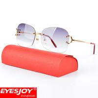 Wholesale hot goggles - Hot Fashion Luxury Metal Frames Sunglasses Brand CT Designer Sunglasses Rimless Square Lenses Sunglasses for Men UV400 lens with Box