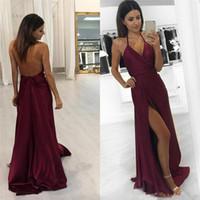 ingrosso abiti da sera arabi per le donne-Borgogna Halter arabo Prom Dresses 2018 Sexy Backless Side Split A Line Satin economici abito da sera lungo abiti da festa delle donne
