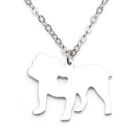 Wholesale stainless steel dog charm resale online - Bulldog Dog Pendant Necklace Stainless Steel Animals Jewelry Women Charm Pendants Pet dog lover Children Gifts