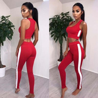 Wholesale black high neck tank - 2018 New Women's Sportswear Set Tracksuits Runwear Jumpsuit Active Wear Fitness Stretch Pants+Tank Tops Ladies Clothes