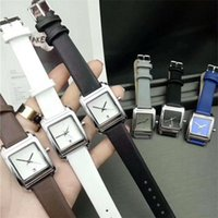 Wholesale Watch Women Rose Gold Square - Fashion lady watches square Dial leather women watch rose gold Multi colors black Bracelet Wristwatches Brand femalee clock free shipping