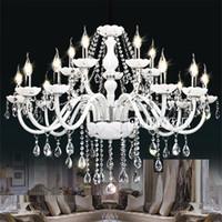 Wholesale crystal chrome ceiling lights - Modern White Crystal Chandelier Lights Lamp Chandeliers For bedroom Living room Fixture Crystal Ceiling Light Lustres de crista lighting