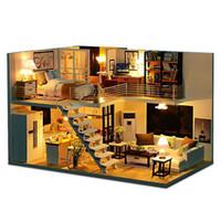 diy oyuncak kiti toptan satış-DIY Ahşap Çatı Daireleri Dollhouse Modern Minyatür Ev Mobilya Modeli Kiti Çocuk El Yapımı Zanaat Oyuncaklar Çocuk LED Işık Hediye