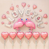 Wholesale pink flamingo party - Romantic Flamingo Balloons Pink Letter Love Heart Shape Aluminum Foil Balloon Wedding Birthday Party Decoration Airballoon Hot Sale 27gx VB