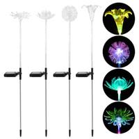atividade de iluminação solar venda por atacado-4 pcs flor solar alimentado multicolor mudando as luzes com a estaca para a decoração do jardim (lótus dente de lótus girassol)
