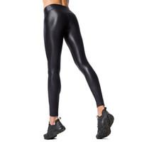 leggings de panel negro al por mayor-PU Panel Mujeres Invierno Calor Leggings de cuero Sporting Leggings Transpirable Pantalones de secado rápido Negro Sexy Push Up Gymming