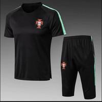 ingrosso portugal calcio jersey di calcio-Portogallo 2018 Coppa del mondo tuta da calcio Tuta da allenamento da calcio a maniche corte 3/4 pantaloni 2018 RONALDO maglia da calcio KIT