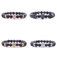 bracelet small stone 2018 - Fatpig Unisex Beads Strand Bracelets Small Crown with Tiny Zircon Bracelet Fashion Natural Stone Skull Bracelets Jewellery