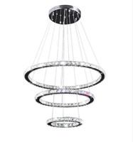 Wholesale wedge rings - Modern K9 Crystal Rings Chandeliers Lights LED Ceiling Fixture Living Dining Room Lamp Restaurant Design Hanglamp Lustre Cristal LLFA