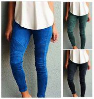 Wholesale hot girls blue leggings resale online - XS XL Hot sale Fashion striped elastic pants lady slimming tight leggings women casual pencil pants top quality