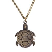 Wholesale hanging gift tags for sale - Hot Cute little Turtle pocket watches Cartoon golden tortoise necklace watch Alloy chain hanging pocket quartz watch Kids Children s Gift