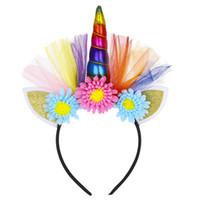 аксессуары для волос карнавал оптовых-Многоцветный Новый европейский и американский ткань Единорог аксессуары для волос карнавал фестиваль животных плед оголовье детские аксессуары для волос