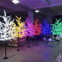 lumières led de fleurs de cerisier achat en gros de-Main Artificielle LED Cerisier En Fleurs Arbre Nuit Lumière Nouvel an De Noël Décoration De Mariage Lumières 1.5 m LED arbre lumière