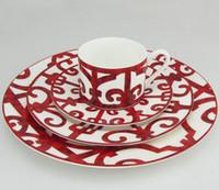 Spanish iron window Dinner plate sets bone china food plates ceramic dishes dinnerware sets steak plate pack of 4