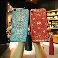 Wholesale iphone blue flowers case online - Relief Lace Roses Flowers Chinoiserie Palace Phone Case For Iphone X XR XS MAX Soft TPU Back Cover For Plus