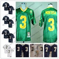 Wholesale vintage irish - Notre Dame Fighting Irish #3 Joe Montana Green Vintage CJ Sanders 7 Brandon Wimbush navy blue white Stitched NCAA College Football Jerseys