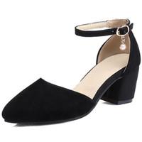 4ab278c96 2018 venda quente Sandálias mulheres bombas primavera verão fivela simples moda  sapatos preto rebanho apontou toe vestido sapatos sapatos de salto alto