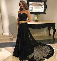 Wholesale embroidery designer occasion dresses for sale - Elegant Black Formal Evening Dresses Sweetheart Lace Appliques A Line Prom Gowns Zipper Back Sweep Train Party Wear