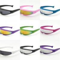 Wholesale bar sunglasses resale online - Dolphin Mirror Fish Shape Sunglasses Space Conjoined Lens Bar Night Club Perform Outdoor Sports Camping Equipment Eyewears sj bb