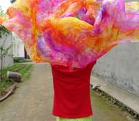 lenços de seda de corante venda por atacado-Frete Grátis Pure Silk Tie Dye Floral Véu De Seda De Dança Do Ventre 250 * 114 cm Mão Jogado Cachecol Xale Colorido Rosa Azul Frete Grátis