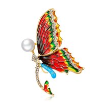 Wholesale vintage butterfly pins brooches - fashion Cute Animal Butterfly Brooches Enamel Colorful Rhinestone Crystal Pins and Brooch for Women Vintage Fashion Jewelry 370006