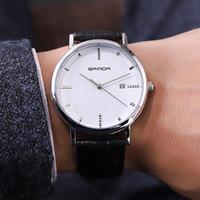 calendarios correas de reloj al por mayor-MISSKY Hombres Reloj de cuarzo informal elegante con calendario Reloj de pulsera de cuero Reloj Hombres de oficina Hombres de negocios Relojes san0