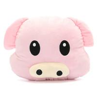 emoticon plüsch großhandel-Nettes Schwein Piggy Emoji-weiche Kissen-Rosa Emoticon-Kissen-Plüsch-Spielzeug gefüllte Puppe Geschenk Puppe Halt Kissen gefüllt Spielzeug Geburtstags-Geschenk-LA022