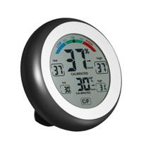 medidor de humedad al por mayor-Nuevo termómetro digital Higrómetro práctico Indicador de temperatura Humedad Medidor reloj de pared Máx. Valor mínimo Tendencia Pantalla C / Funit