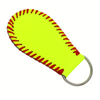 Wholesale balls keychain online - 2018 hotsaleusa softball sunny Embroidered yellow really leather grils gifts with white real leather Baseball sports season jewelry keychain