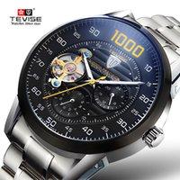tevise роскошные мужчины оптовых-Часы верхний Марка TEVISE часы Автовытяжку новый роскошный автоматические часы мужчины турбийон механические часы Спорт военная часы D18100709