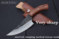facas de caça artesanal venda por atacado-MOKYING aço Carbono De Alta faca fixa Hetero Artesanal forjado faca de caça 58HRC cabo de Madeira Camping Tactical Survival Knife