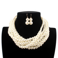 Wholesale women choker sets - white Imitation pearls Bridal Jewelry Fashion Wedding Gift Classic Ethnic Luxury Multi layer Collar Choker Necklace Earring Sets for Women