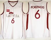 top-jersey-basketball großhandel-HOT New 6 Latvija Mannschaft Kristaps Porziņģis Jersey Mens Basketball Jersey Weiß Vintage genähte Shirt Klassisches european TOP