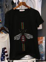 flügelhülsen-artt-shirts großhandel-2018 Freies Verschiffen T-Shirt Schwarz Fashion Prom Rundhalsausschnitt Baumwolle Kurzarm Perlen Tier Marke Same Style TB