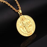 ingrosso catene d'oro collana jesus-Mens Mini Micro rotonda Jesus Piece Charm catena 18K oro placcato Gesù Cristo Hip Hop Collana pendente uomo gioielli